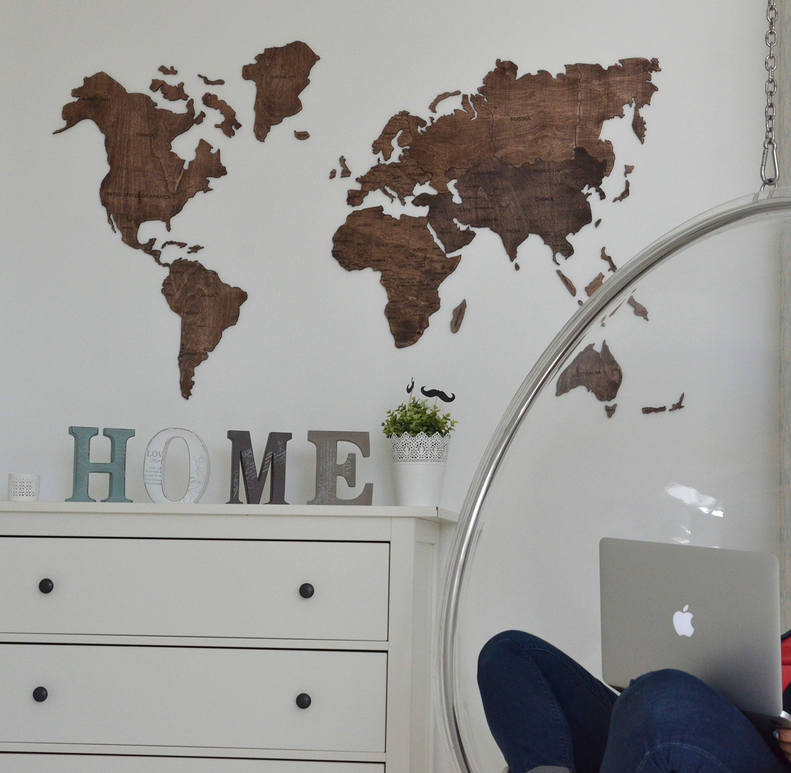 Large World Map of the World Travel map Wall world Cork Rustic Home decor Office decor Wall decor Dorm Living room Interior design Fathers Day Gift - By Enjoy The Wood 100x50cm, 150x90cm, 200x102cm by Enjoy The Wood (Image #3)