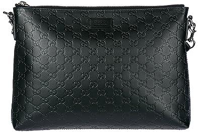 1d6c900f9a89 Gucci men's leather cross-body messenger shoulder bag signature soft black