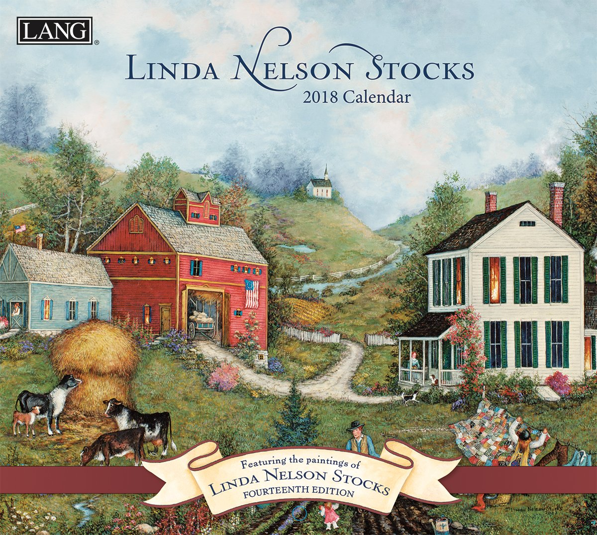 Lang - 2018 Wall Calendar -''Linda Nelson Stocks'', Artwork by Linda Nelson Stocks - 12 Month - Open 13 3/8'' X 24''