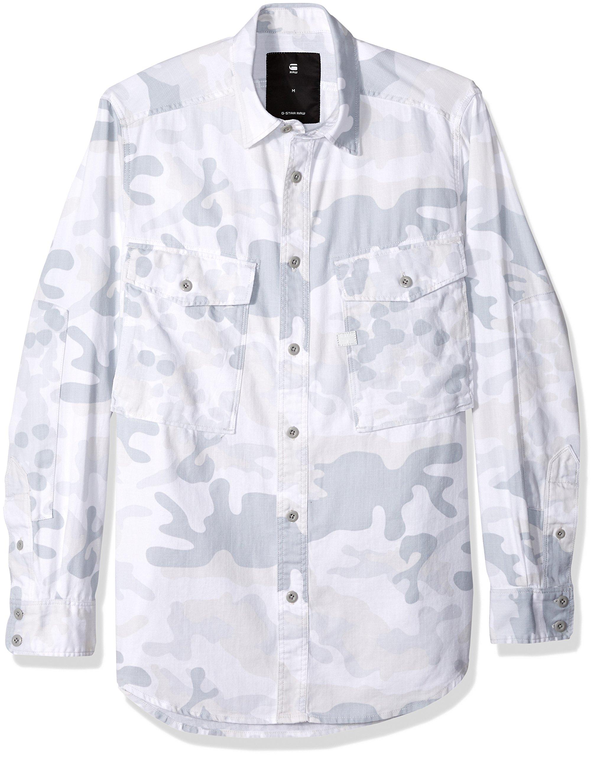 G-Star Raw Men's Type C Straight Long RC Shirt L/s, Milk/Industrial Grey, Large
