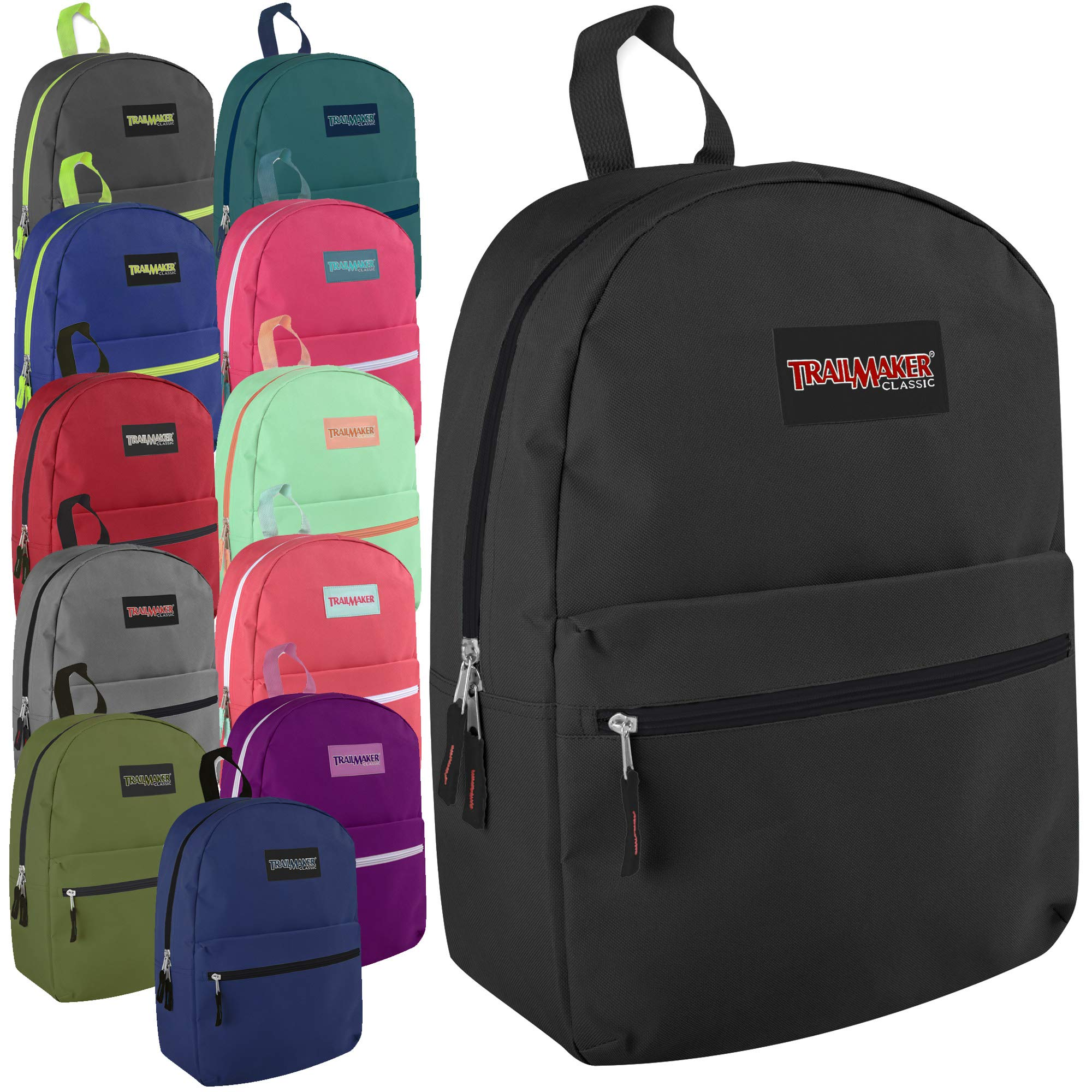 Classic 17 Inch Backpack Case Pack 24 (Assorted 12 Color Pack) by Trail maker