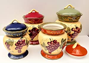NEW CANISTER SETS BY ACK (4PC COLORFUL GRAPES CANISTER SET)