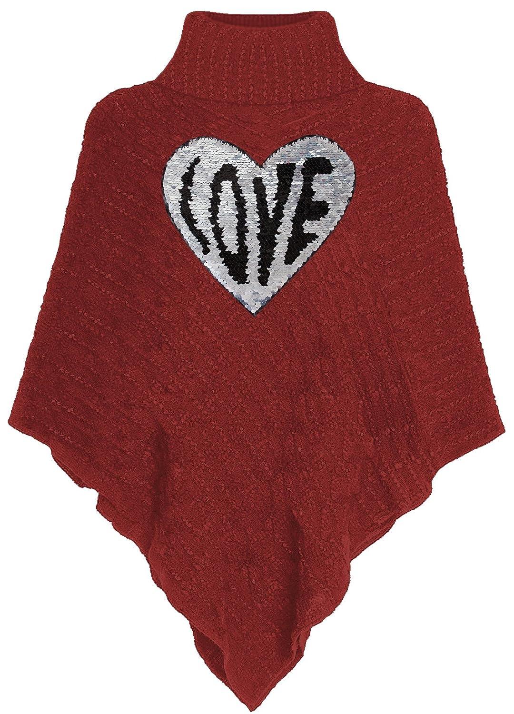 Kinder Poncho Wende Pailletten Love Herz Streichel Cape Rot