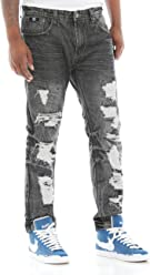 Switch Remarkable Mens Distressed 3D Washed Slim Fit Denim Jeans