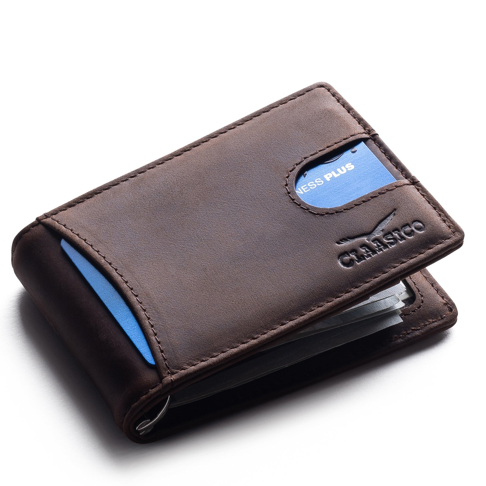 Super Slim RFID Leather Wallet For Men Card Holder With Money Clip Prefect For Travel & Front Pocket Use