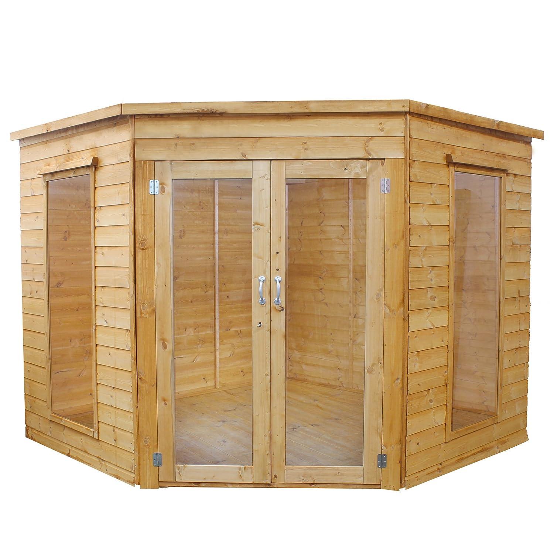 Waltons - Caseta de Esquina de madera para verano, con solapado machiembrado, 2, 4 x 2, 4 m: Amazon.es: Jardín
