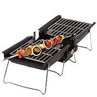 Special Grill schwarz klein Exclusive Balkon Camping Picknick ✔ eckig ✔ tragbar ✔ Grillen mit Holzkohle ✔ für den Tisch