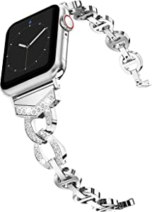 Wearlizer Silver Bands Compatible with Apple Watch Band 38mm 40mm Rhinestone Wristband Women Replacement Wrist Strap for Apple Watch SE Series 6 5 4 3 2 1-38mm 40mm Silver