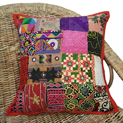 Amazon.com: Ethnic Pillow Multicolor Kutch Sofa Cushion ...