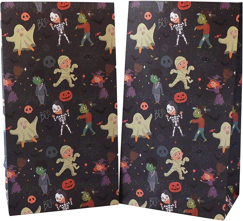 Halloween Treat Bags Halloween Party Supplies for Halloween Party Favor 9.5 x 5.5 x 3.25 24-Count Halloween Pattern Design with Cute Costume Kids Printed on Dark Green Kraft Paper Goodie Gift Bags