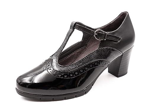 e3e78613df18 Zapato Mujer Tipo Gilda PITILLOS, en Piel y Charol Color Negro ...