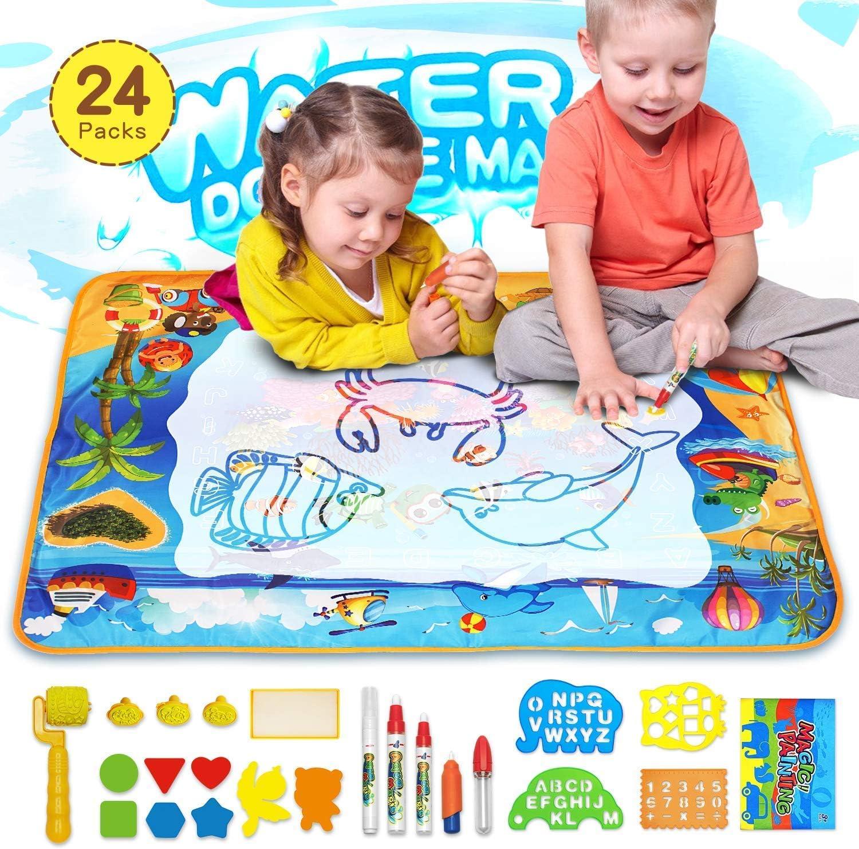 Juguete para Niños, Grande Agua Dibujo Pintura, Alfombra de Agua Doodle con 23 Accesorios de Dibujo, Esteras de Agua Doodle Regalo para Niños juguetes niños 2+ años, Navidad Cumpleaños (28