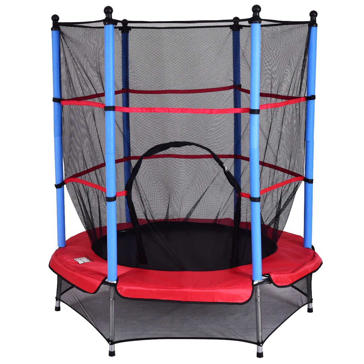 GYMAX Mini Trampoline, 55'' Round Rebounder Exercise Trampoline for Kids with Safety Pad Enclosure Combo (Blue)