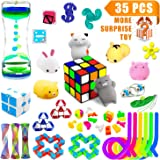 Relieves Stress and Increase Focus Bundle Sensory Toys-Fidget Chain/Magic Cube/Mochi Squishies/Liquid Motion Timer/Fidget Pad/Squeeze Bean Toys for ADD ADHD