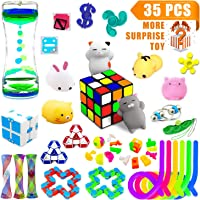 H-Partner Relieves Stress and Increase Focus Bundle Sensory Toys-Fidget Chain/Magic Cube/Mochi Squishies/Liquid Motion Timer/Fidget Pad/Squeeze Bean Toys for ADD ADHD