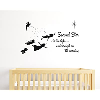 "e-Graphic Design Inc Second Star to The Right - Peter Pan Tinkerbell Wendy & Kids - Baby Girl Boy Unisex Room - Mural Wall Decal Sticker for Home Car Laptop (Wide 22"" x 13"" Height): Home & Kitchen"