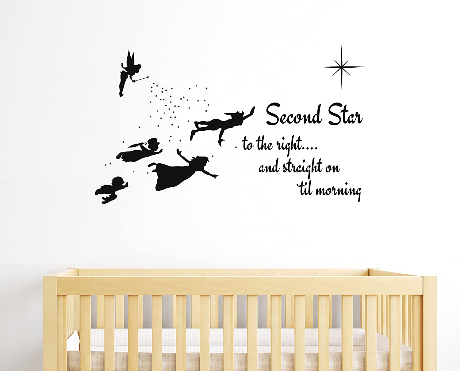 "e-Graphic Design Inc Second Star to The Right - Peter Pan Tinkerbell Wendy & Kids - Baby Girl Boy Unisex Room - Mural Wall Decal Sticker for Home Car Laptop (Wide 40"" x 24"" Height)"