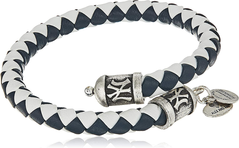 Alex and Ani Womens MLB New York Yankees Braided Leather Wrap Bracelet