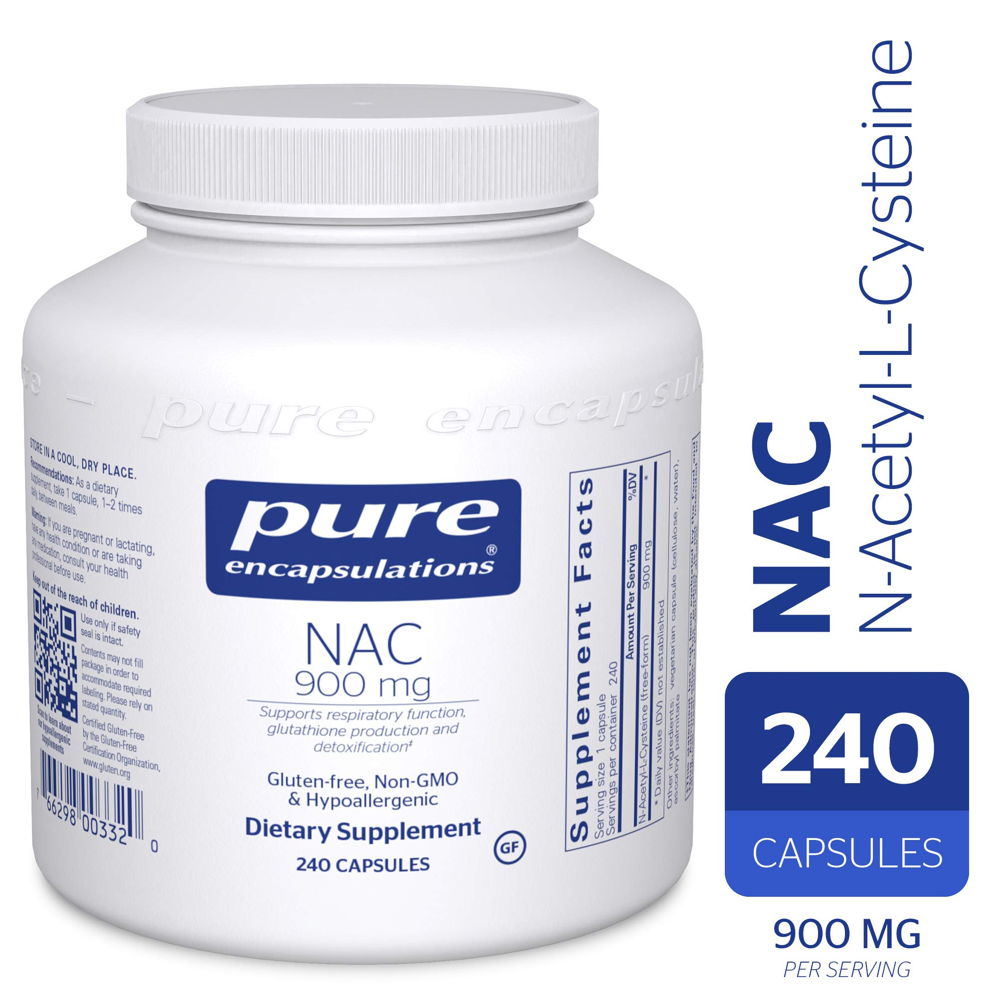 Pure Encapsulations - NAC (N-Acetyl-L-Cysteine) 900 mg - Amino Acids to Support Antioxidant Defense and Healthy Lung Tissue - 240 Capsules