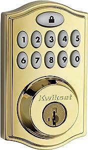 Kwikset 99140-008 SmartCode 914 Keypad Keyless Entry Zigbee Smart Lock Connected Deadbolt Door Lock Featuring SmartKey Security in Polished Brass