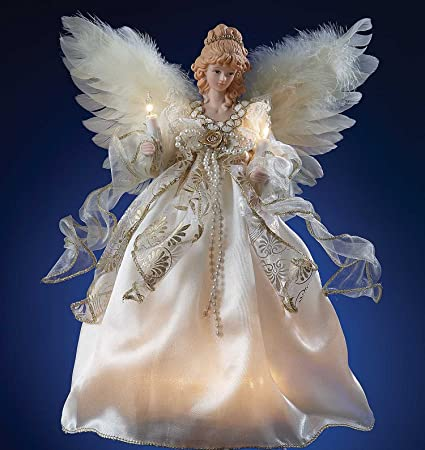 christmas tree toppers lighted angel tree topper ivory gold 10 lights