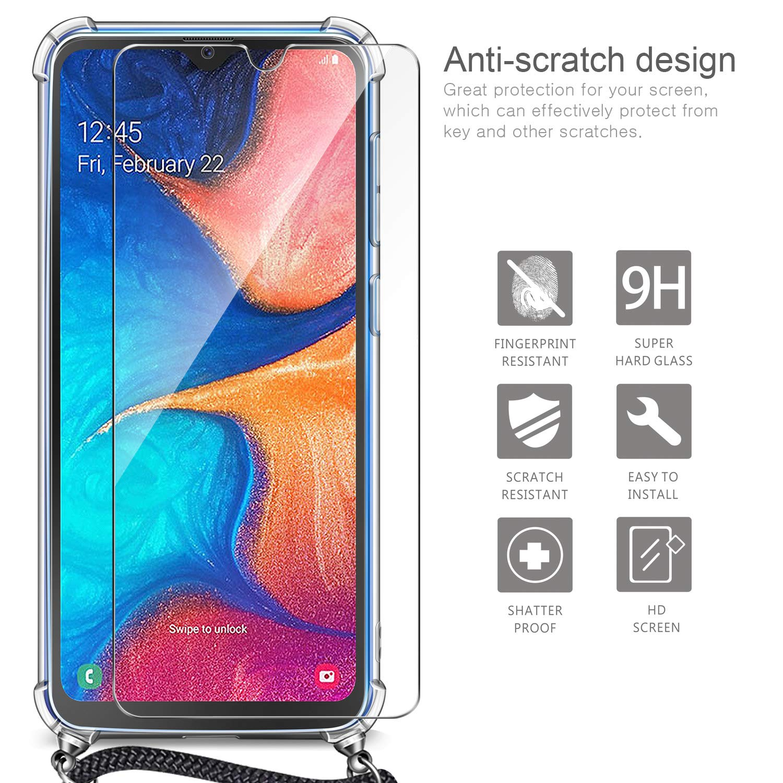 Case avec Courroie de Cou R/églable pour Samsung Galaxy A20e AROYI Coque Collier Samsung Galaxy A20e Silicone Verre Tremp/é Ultra Mince Transparente TPU Bumper Etui Housse avec Cordon