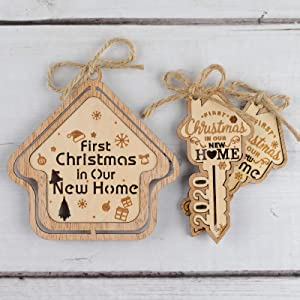 Creawoo 3 Pack House with Keys New Home Ornaments, 1st Christmas in Our New Home 2020, Housewarming Key Home Ornaments Gift