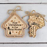 Creawoo 3 Pack House with Keys New Home Ornaments, 1st Christmas in Our New Home 2020, Housewarming Key Home Ornaments…