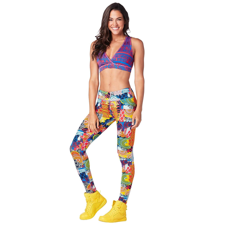 Zumba Womens Wide Waistband Print Capri Legging with Compression ZUMAD
