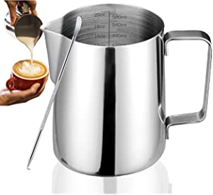 Milk Frothing Pitcher Jug Coffee Spoons Frother Steamer Cup Foam Making-Suitable for Espresso- Hot Chocolate-Stainless Steel-Easy to Read Creamer Measurements Inside (20oz/600ml)