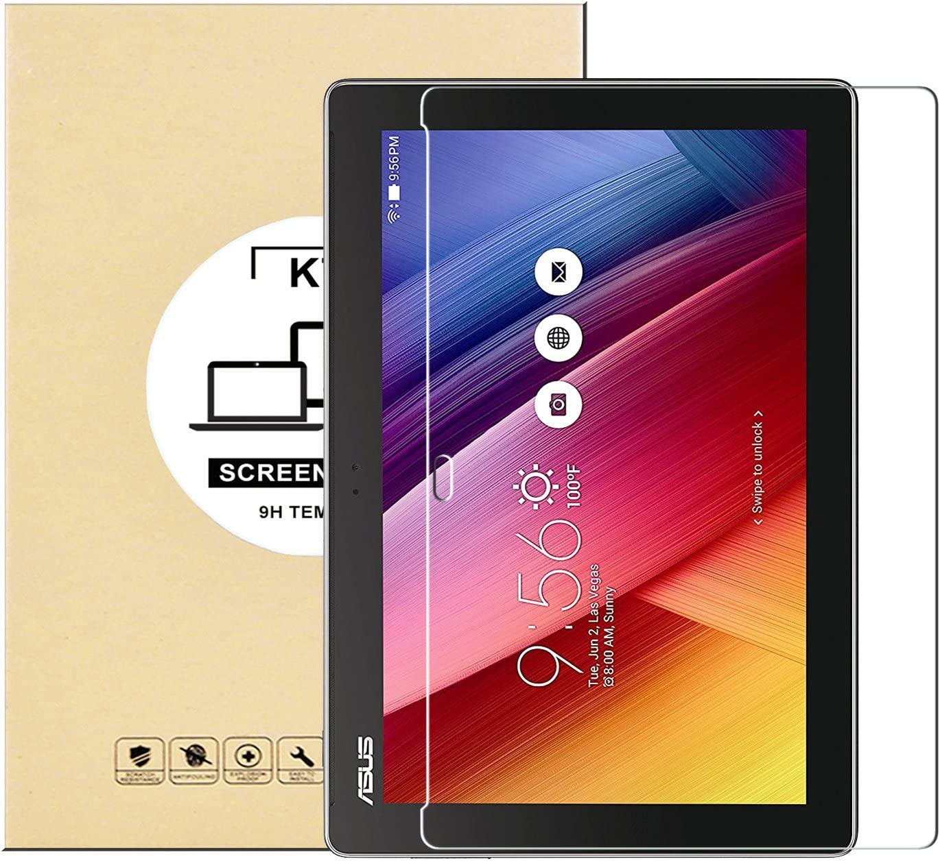 KTtwo Asus Zenpad 10 Z300M (10.1 Inch) Screen Protector Glass, 9H Hardness Tempered Glass Anti-Scratch Bubble-Free Screen Protector for Asus Zenpad 10 Z300M/Z300C/Z300CL/Z300CG (10.1 Inch) Tablet