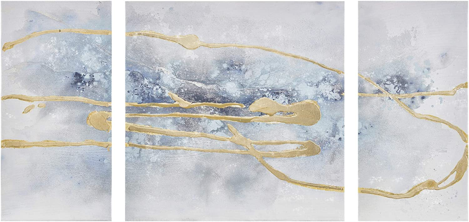 Madison Park Wall Art Living Room Cosmo Hand Embellished Canvas Home Accent Modern Dining, Bathroom Decoration, Ready to Hang Painting for Bedroom, Multi-Sizes, Blue/Gold, 3 Piece