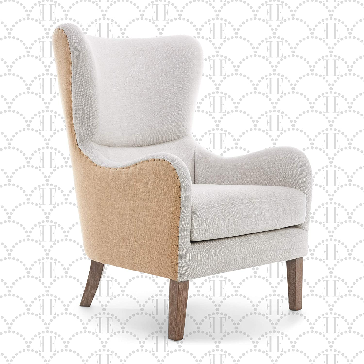 Amazon Com Elle Decor Wingback Upholstered Accent Chair Farmhouse Armchair For Living Room Two Toned Beige Furniture Decor