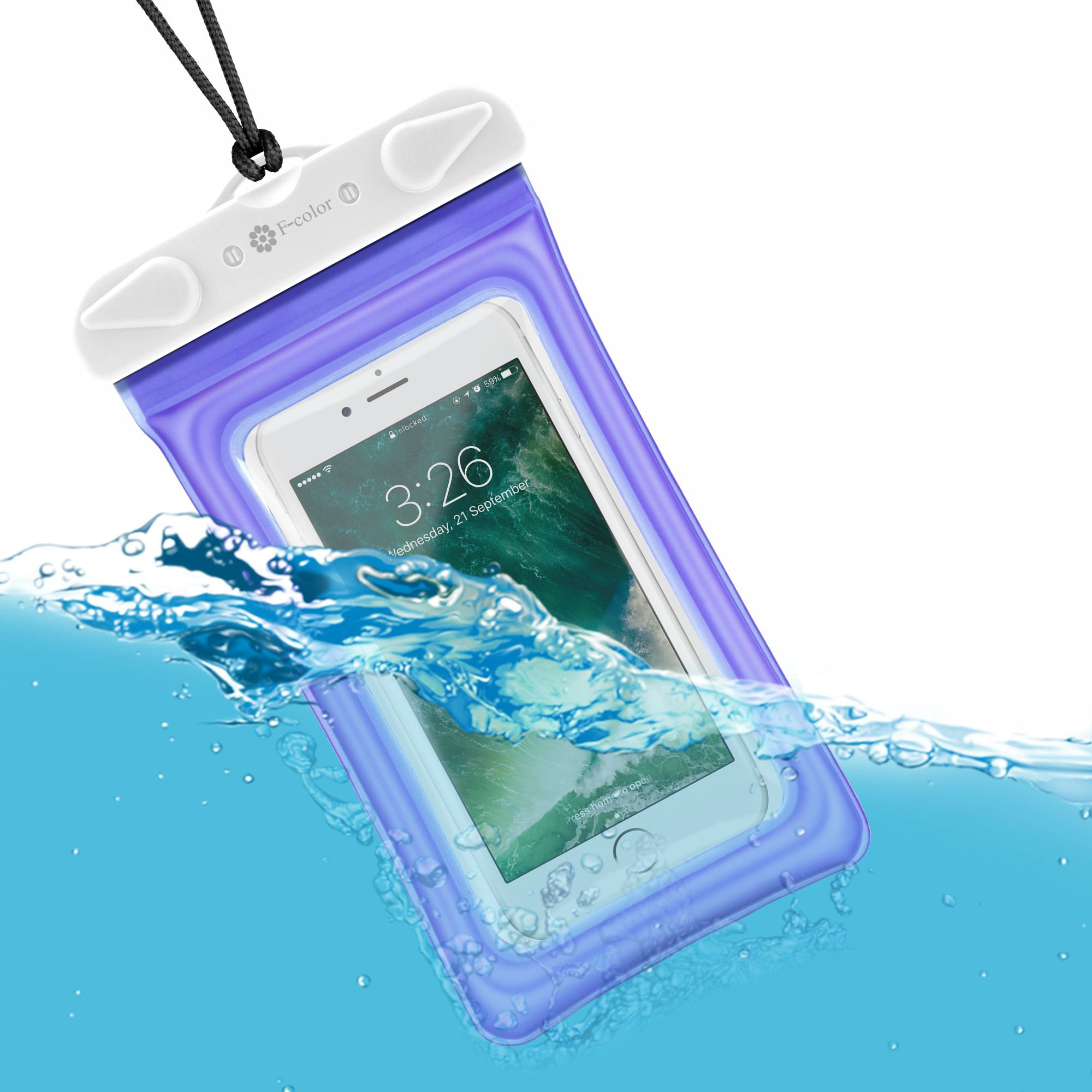 Waterproof Phone Pouch, 4 Pack F-color Clear Floating Waterproof Phone Case with Armband Beach Bag for Boating, Skiing, Water Sports, Compatible with iPhone X 8 7 6S Plus SE 5, Google Pixel and More by F-color (Image #5)