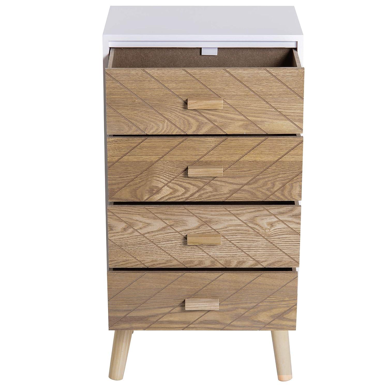 Homcom Chevet Table de Nuit Design scandinave 40L x 30l x 56H cm 2 tiroirs Bois Massif pin MDF Blanc et h/être Motif Graphique