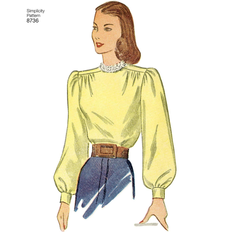 6-8-10-12-14 chalecos H5 abrigos Simplicity Patterns US8736H5 Patrones de costura para camisetas