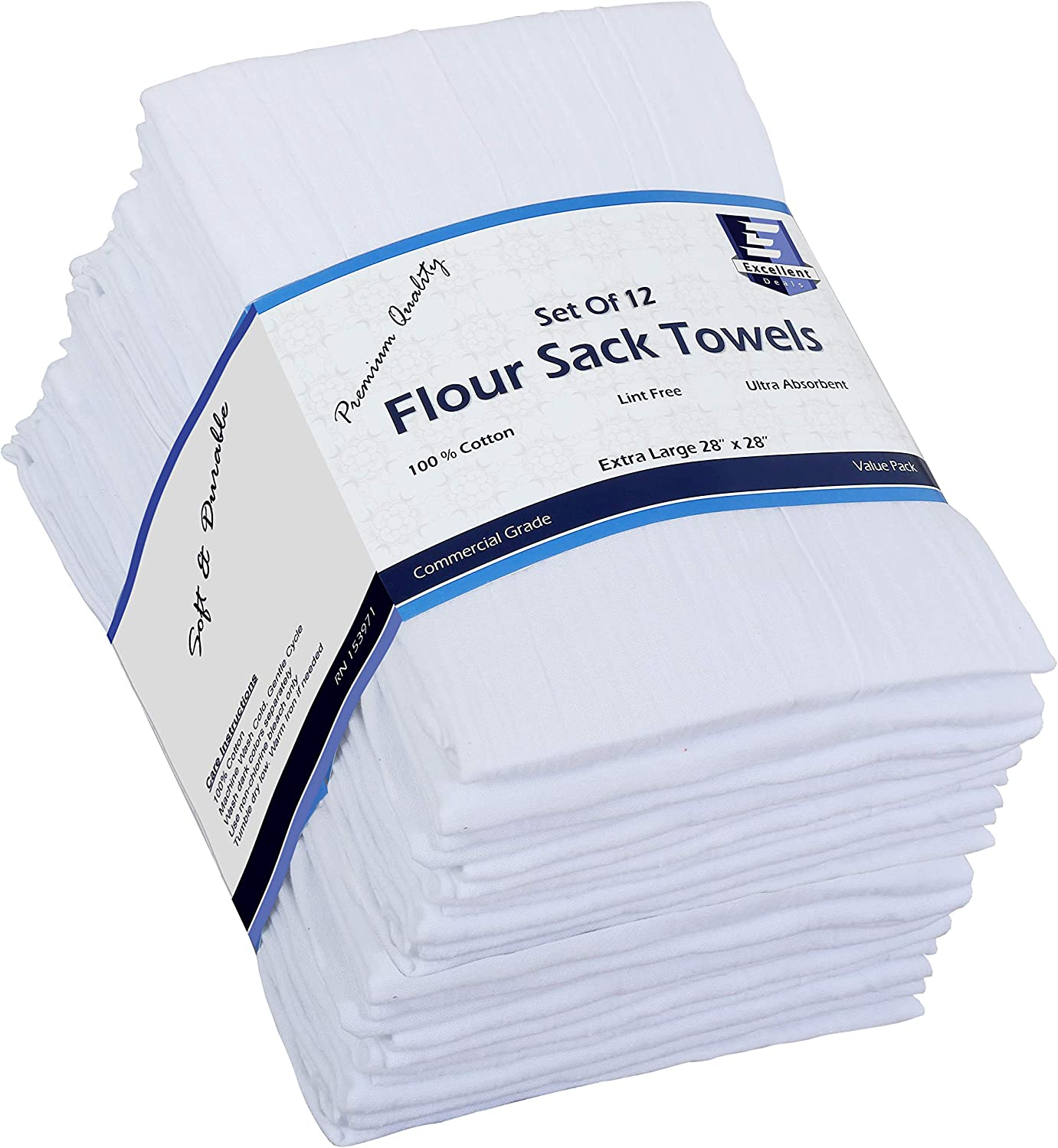 Flour Sack Kitchen Towels (White,12 Pack) 100% Cotton,28x28 Inch Cloth Napkin, Bread wrapper, Cheesecloth, Multi Purpose Kitchen Dish Towels,Bar Towels, Extremely Absorbent & Sturdy By Excellent Deals: Home & Kitchen