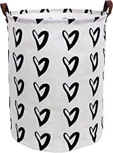 CLOCOR Toy Large Storage Bin-Cotton Storage Basket-Round Gift Basket with Handles for Toys,Laundry,Baby Nursery(Love Heart)