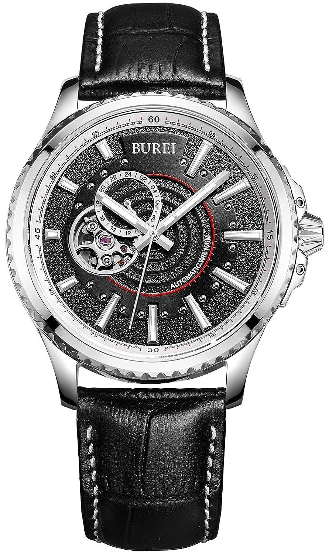 Burei® Herren 's Boy 's Revolution Analog 24 Stunde Display Japanische Automatische Armbanduhr Armbanduhr mit schwarz