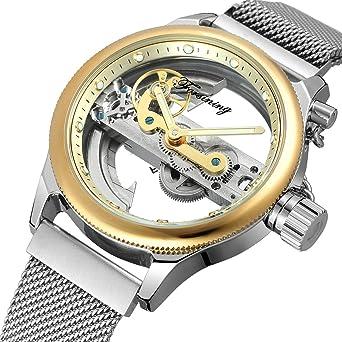 1878db0b4 Forsining 2018 Fashion Casual Neutral Design Silver Steel Transparent Case Skeleton  Watch Top Brand Luxury Mechanical