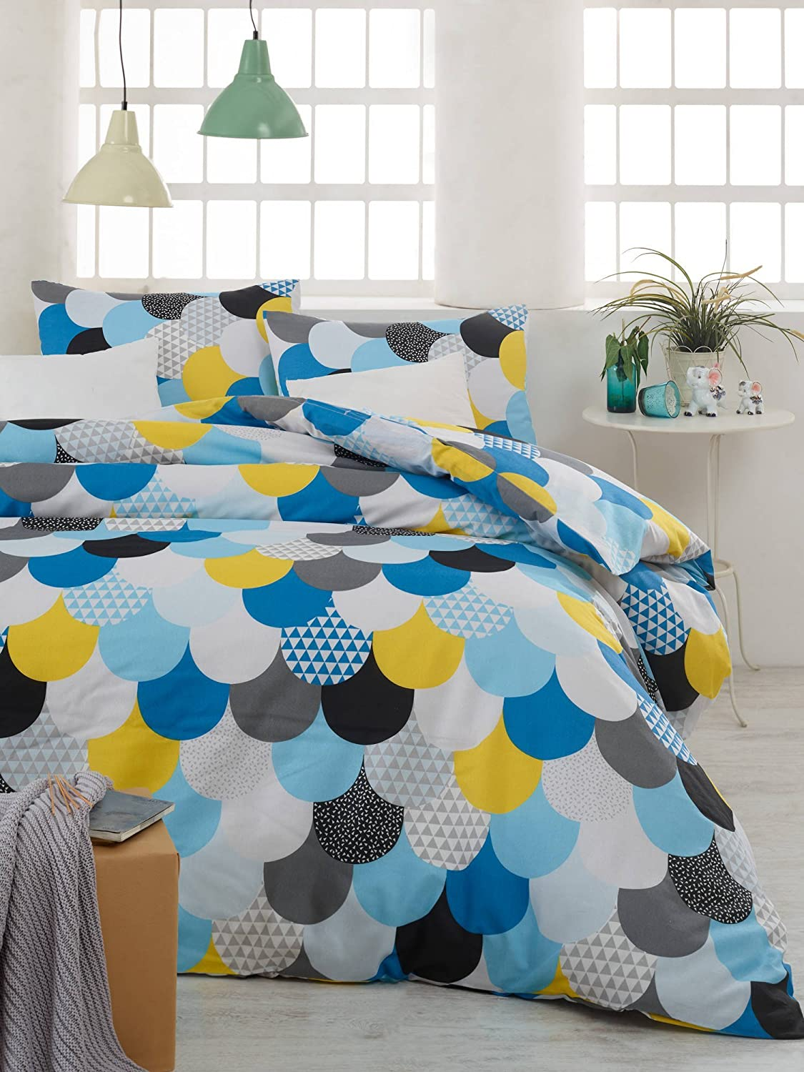 Colorful Dots and Triangle Motif on Circles LaModaHome Shapes Duvet Cover Set Set of 4 Yellow 65/% Cotton 35/% Polyester Blue Flat Sheet and 2 Pillowcases for Full Bed 143EPJ1608 Duvet Cover White