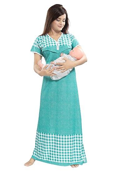 0afd112a63c TUCUTE Women s Beautiful Checks Print with Border Feeding Maternity Nursing  Nighty Nightwear.