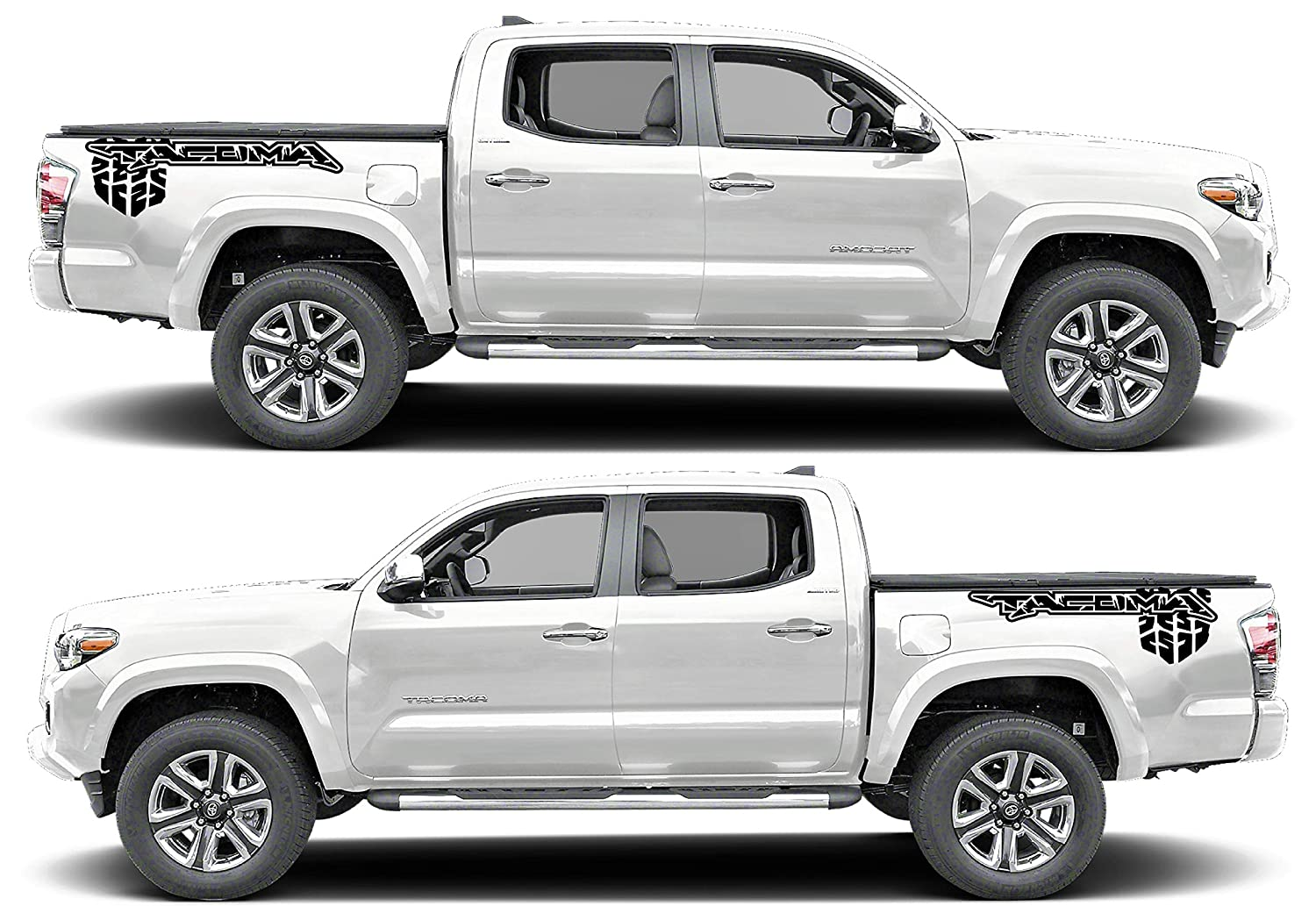 Amazon com evilrpm pair vinyl pickup bed sticker decal graphics compatible with toyota tacoma black color black matt black automotive
