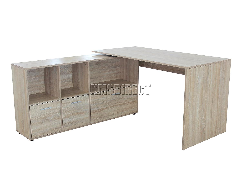 scribed oak effect home. WestWood PC Computer Desk Corner Wooden Desktop Table Cabinet Home Office Workstation Modern Furniture FH-CD02 Oak: Amazon.co.uk: Products Scribed Oak Effect