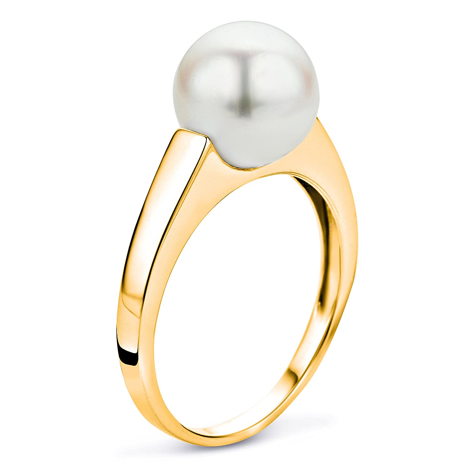 Miore Ladies 9ct White Gold Freshwater Pearl Ring 8.5mm USP041RW- Size L m3zVV4u