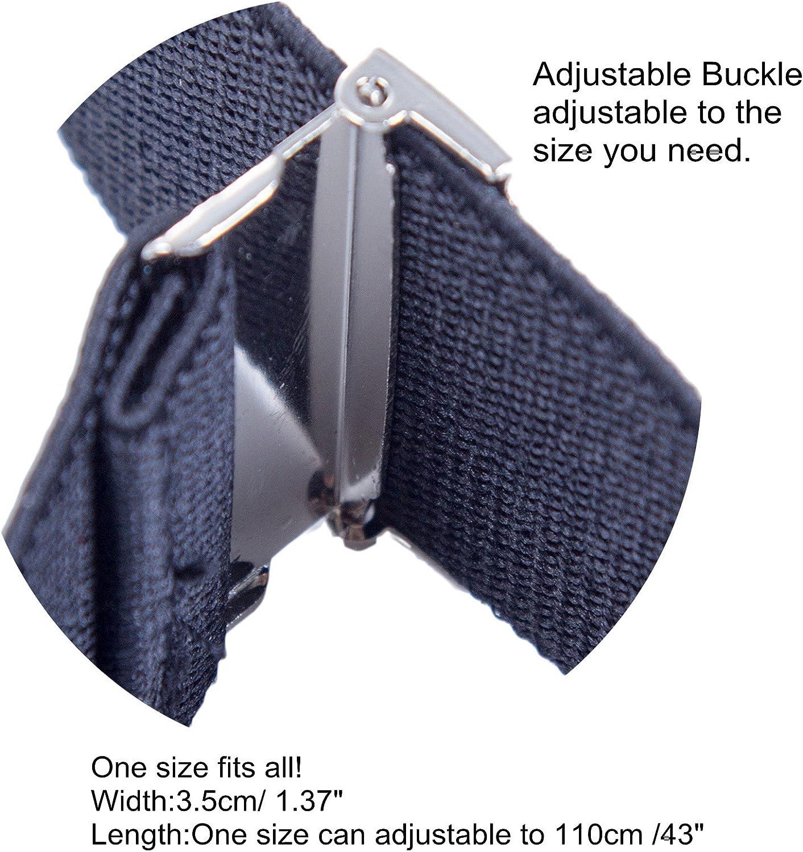 1.37 Wide Y Shape Adjustable Button End Dress Suspender Mens Button End Suspenders Braces Navy Blue