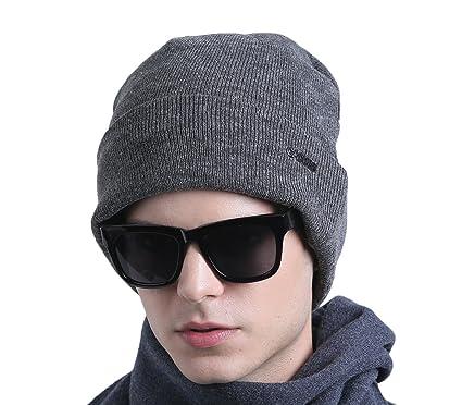 48954eeca02 CACUSS Men s Classic Wool Beanie Hat Warm Knit Skull Ski Caps with Fleece  Lined (Grey