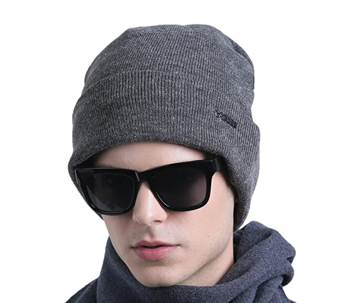 CACUSS Men s Classic Wool Beanie Hat Knit Skull Ski Caps with Fleece Lined 904f9586130