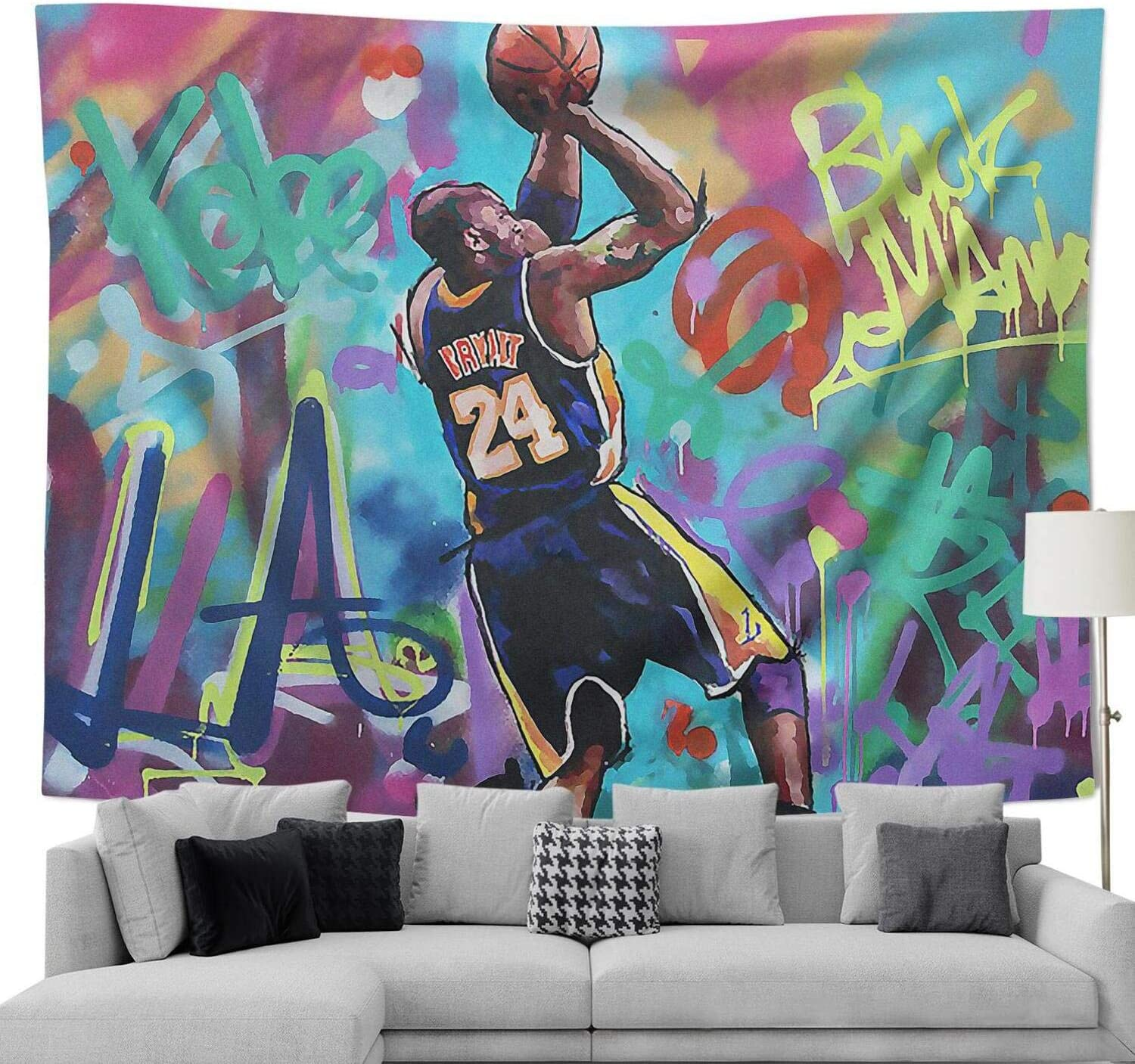 COOLGOOD LA Legend 8 24 Basketball-Player Tapestry,Wall Hanging Bedroom Decor, for Men Women Teen Girl College Dorm Room Decor Livingroom Tapestrys (I Love You-28, 90x70 inch)