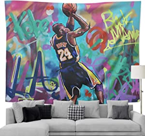 COOLGOOD LA Legend 8 24 Basketball-Player Tapestry,Wall Hanging Bedroom Decor, for Men Women Teen Girl College Dorm Room Decor Livingroom Tapestrys (I Love You-28, 90x70 inch)